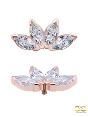 4-Marquise Fan Threaded Stud Earring, Solid Back, 18k Rose Gold