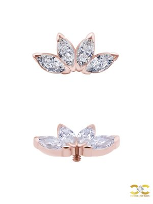 4-Marquise Fan Threaded Stud Earring, Mini, Solid Back, 18k Rose Gold
