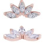 5-Marquise Fan Threaded Stud Earring, Solid Back, 18k Rose Gold