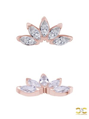 5-Marquise Fan Threaded Stud Earring, Mini, Solid Back, 18k Rose Gold