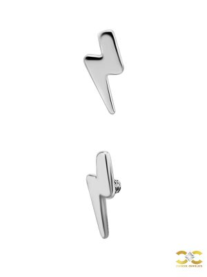 Lightning Bolt Threaded Stud Earring, Titanium