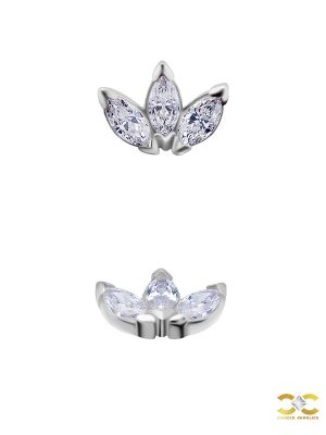 3-Marquise Fan Threaded Stud Earring, Mini, Solid Back, 18k White Gold