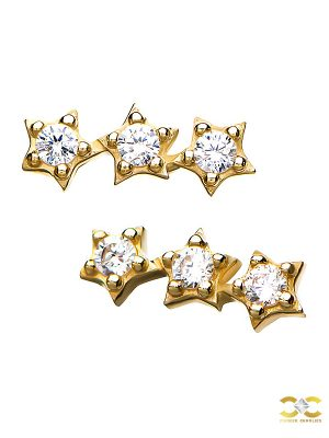 3-Star Cluster Push-In Stud Earring, 14k Yellow Gold