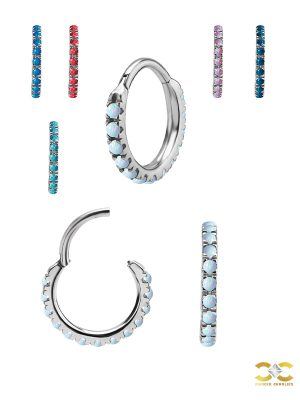Created Opal Eternity Clicker Earring, Steel