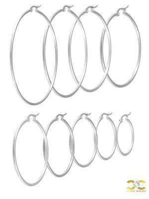 Plain Clicker Large Hoop Earring, Steel