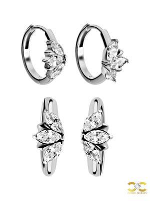 Marquise Fan Clicker Earring, Steel