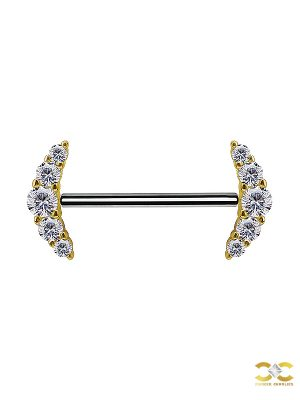 Nipple Barbell 5 Cluster, Push-In, 18k Yellow Gold