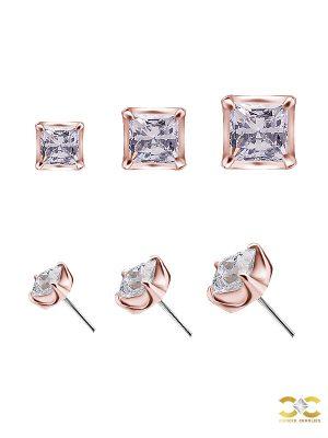 Square Swarovski Push-In Stud Earring, 18k Rose Gold