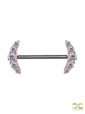 Nipple Barbell 5 Cluster, Push-In, 18k Rose Gold
