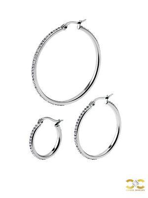 Pave Clicker Large Hoop Earring, Steel