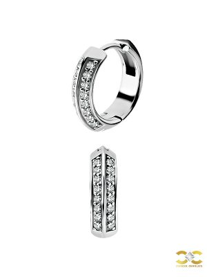 Double Row Pave Clicker Earring, Steel