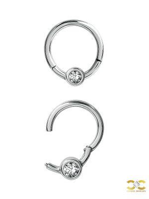 Bezel Gem Clicker Earring, CoCr NF