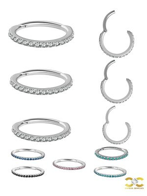 Pave Ring Eternity Clicker Earring, 16ga, Medium, CoCr NF
