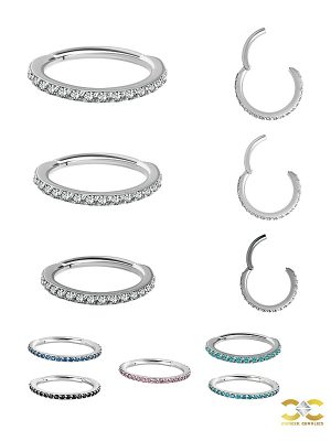 Pave Ring Eternity Clicker Earring, 16g, Small, CoCr NF