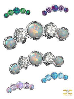 Prium Opal-CZ Cluster Push-In Stud Earring, Titanium