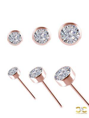 Bezel Set Diamond Push-In Stud Earring, 18k Rose Gold