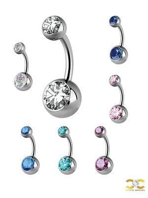 Double Swarovski Zirconia Belly Bar, Titanium