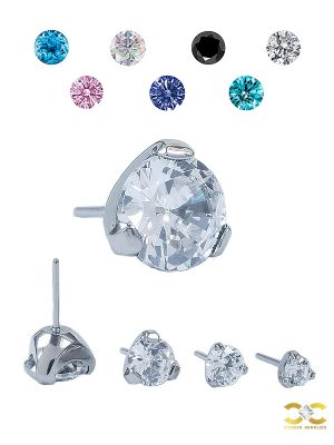 Prong Set CZ Push-In Stud Earring, Titanium