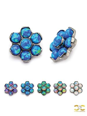 Created Opal Flower Threaded Stud Earring, Titanium