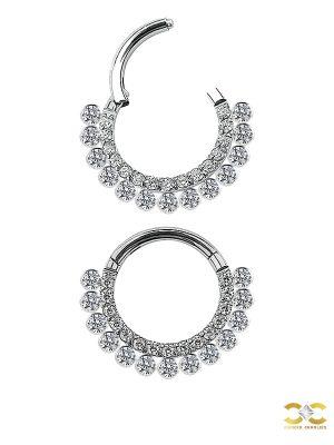 Double Pave Daith Clicker Earring, Titanium