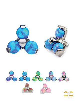 Created Opal Trinity Threaded Stud Earring, Titanium