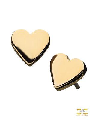 Love Heart Push-In Stud Earring, 14k Yellow Gold