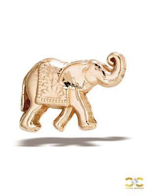 BodyGems Elephant Threaded Stud Earring, 14k Rose Gold