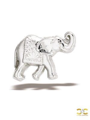 BodyGems Elephant Threaded Stud Earring, 14k White Gold