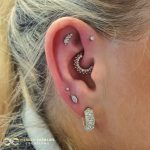 White Gold Sparkly Ear combination