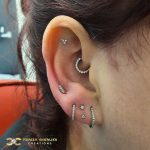 Stacked Lobe in Steel and White gold