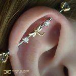 Custom Industrial Bar with 14k Gold Dragonfly
