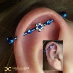 Flute Industrial with Blue CZ Flower
