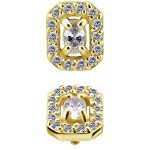 Oval with Pave Octagon Threaded Stud, 18k Yellow Gold
