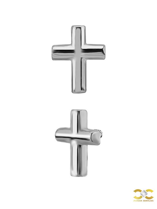 Cross Threaded Stud Earring, 18k White Gold