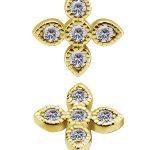4 Petal Pave Flower Threaded Stud Earring, 18k Yellow Gold