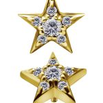 Pave Star Threaded Stud, 7mm, 18k Yellow Gold