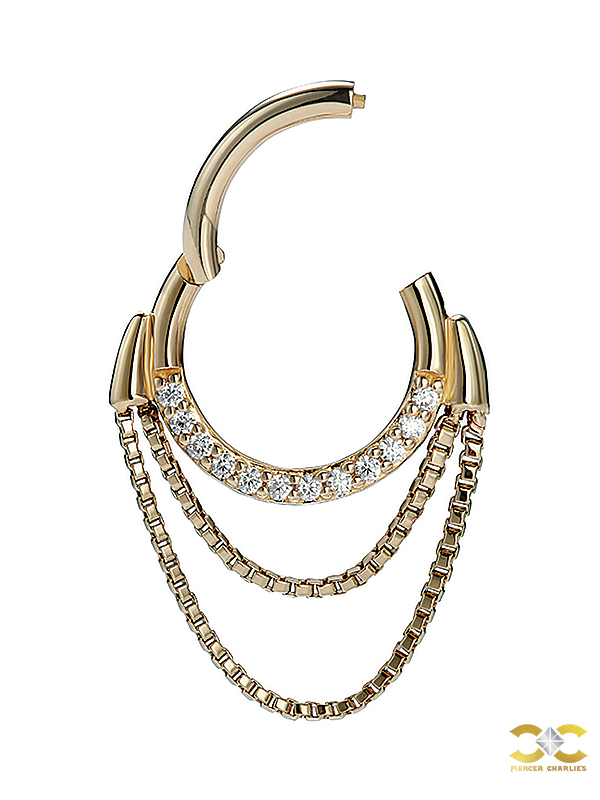 Double Chained Pave Septum Clicker Earring, 14k Yellow Gold, 8mm