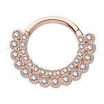 Scalloped Double Row Pave Daith Clicker Earring, 14k Rose Gold, 8-9mm