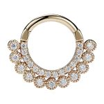 Scalloped Double Row Pave Daith Clicker Earring, 14k Yellow Gold, 8-9mm
