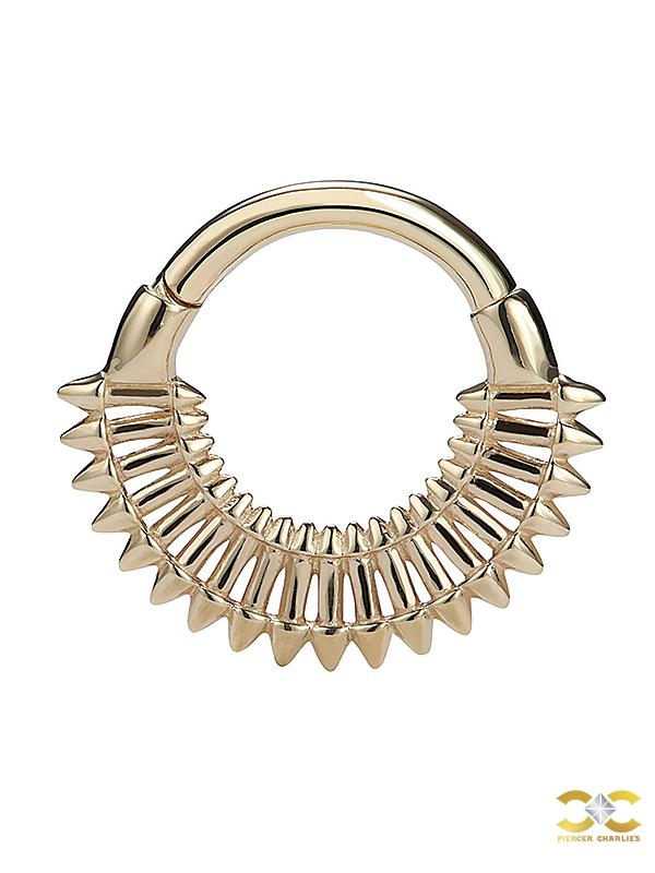 Spike Fan Daith Clicker Earring, 14k Yellow Gold, 8mm